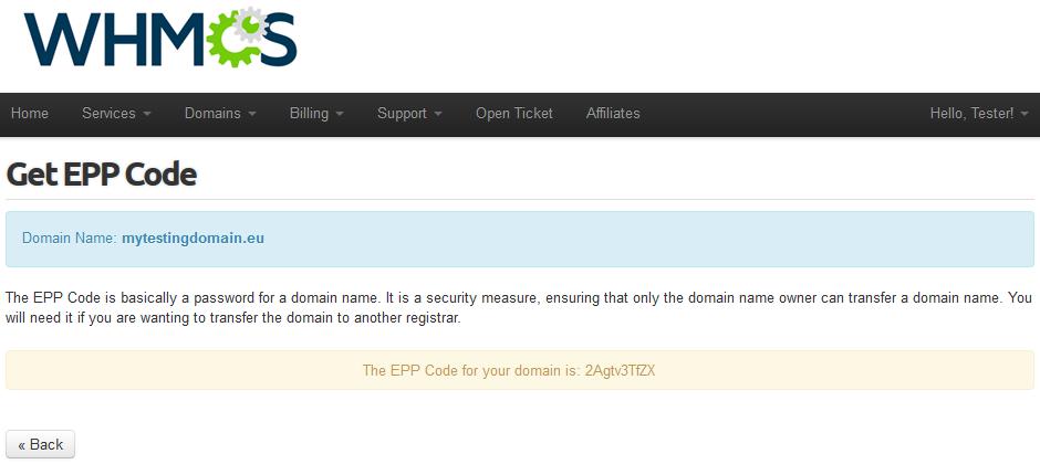 EURid Registrar For WHMCS: Screen 8