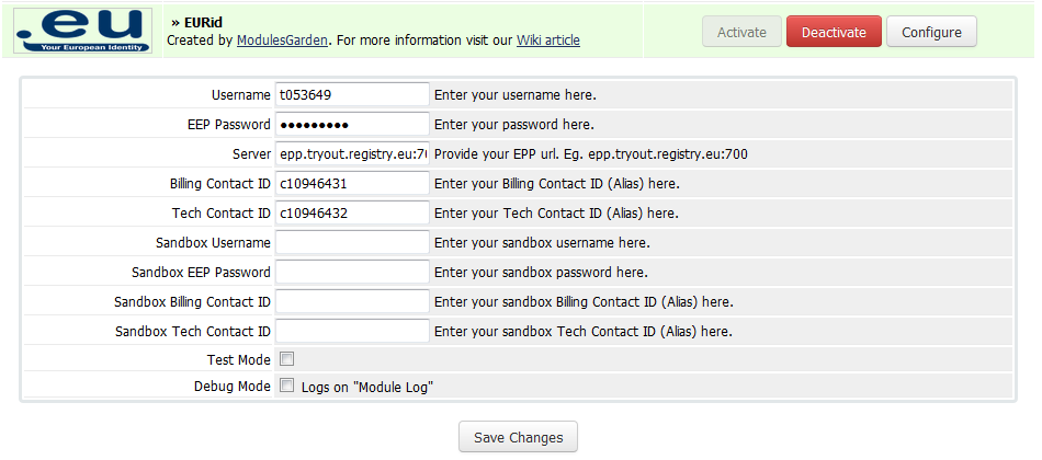 EURid Registrar For WHMCS: Screen 1