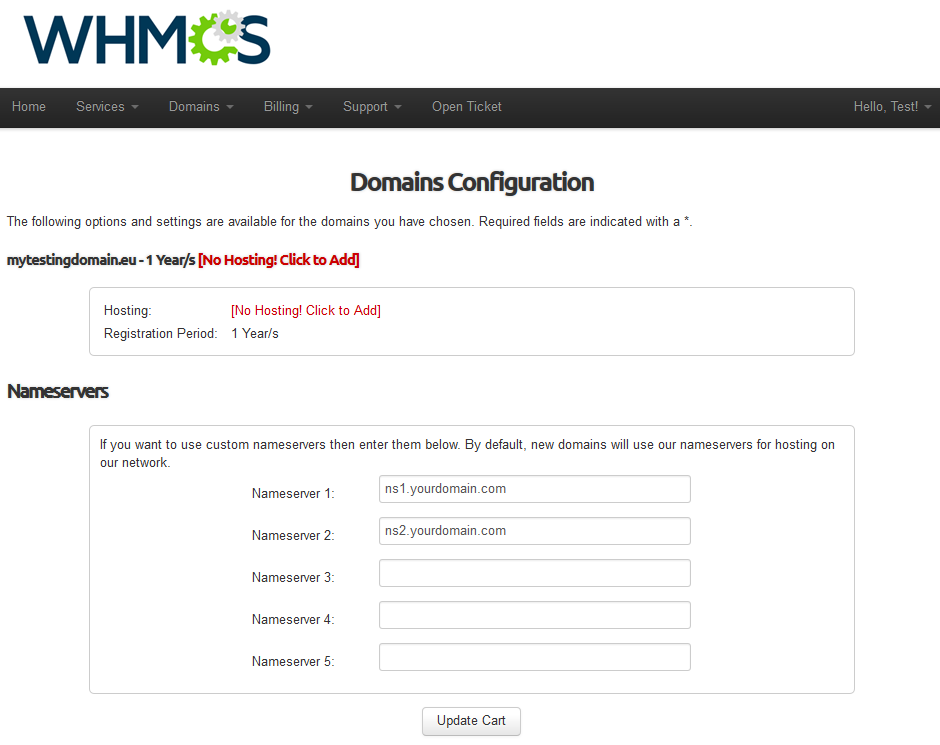 EURid Registrar For WHMCS: Screen 4