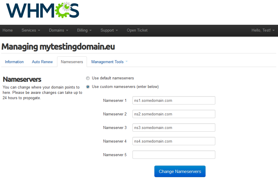 EURid Registrar For WHMCS: Screen 6