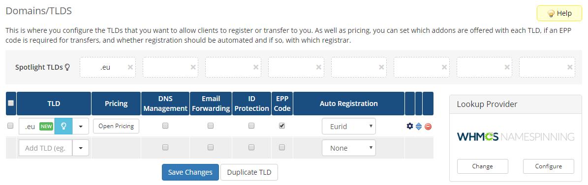 EURid Registrar For WHMCS: Screen 2