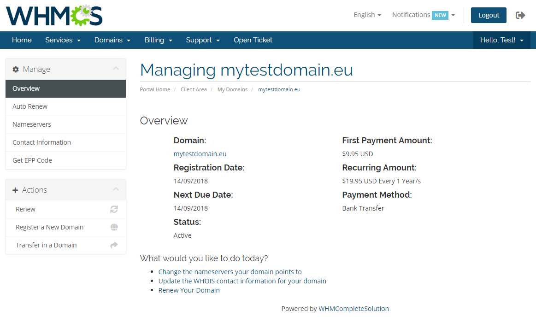 EURid Registrar For WHMCS: Screen 5