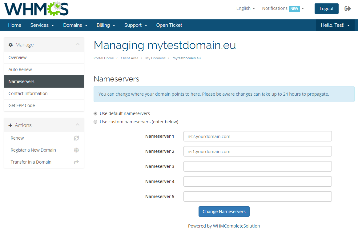 EURid Registrar For WHMCS: Screen 7