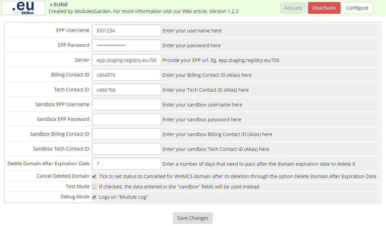 EURid Registrar For WHMCS: Screen 1