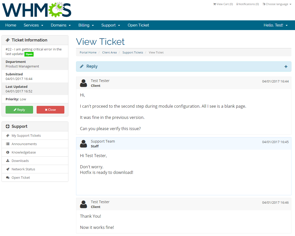Freshdesk For WHMCS: Screen 3