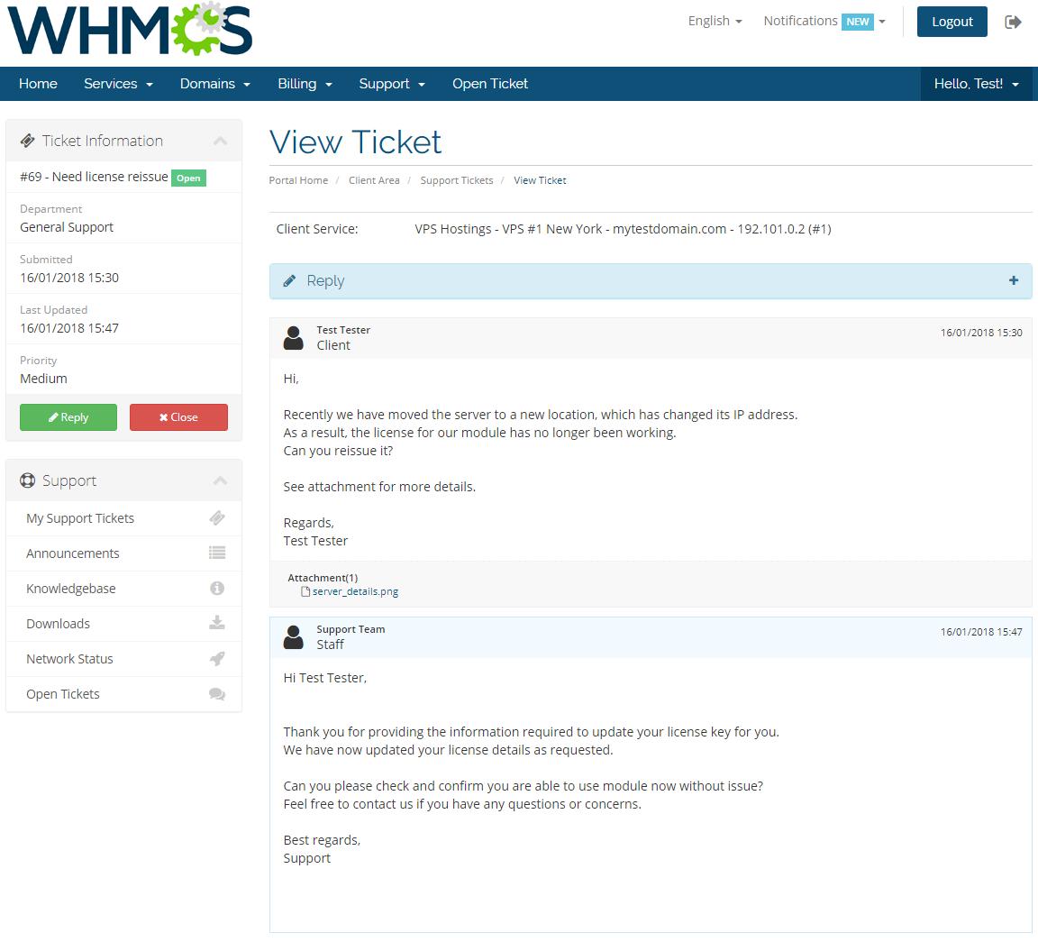 Freshdesk For WHMCS: Screen 4