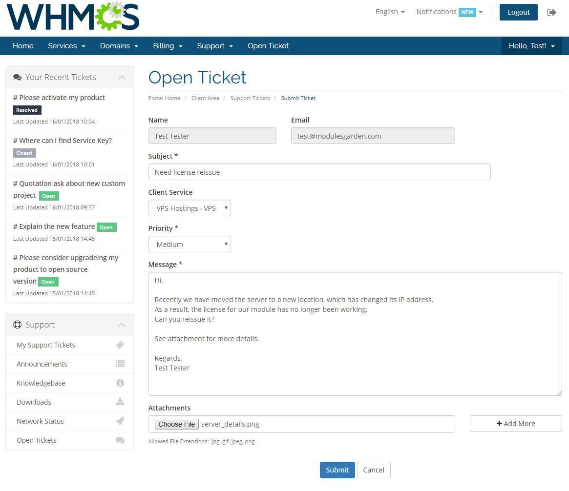 Freshdesk For WHMCS: Screen 1