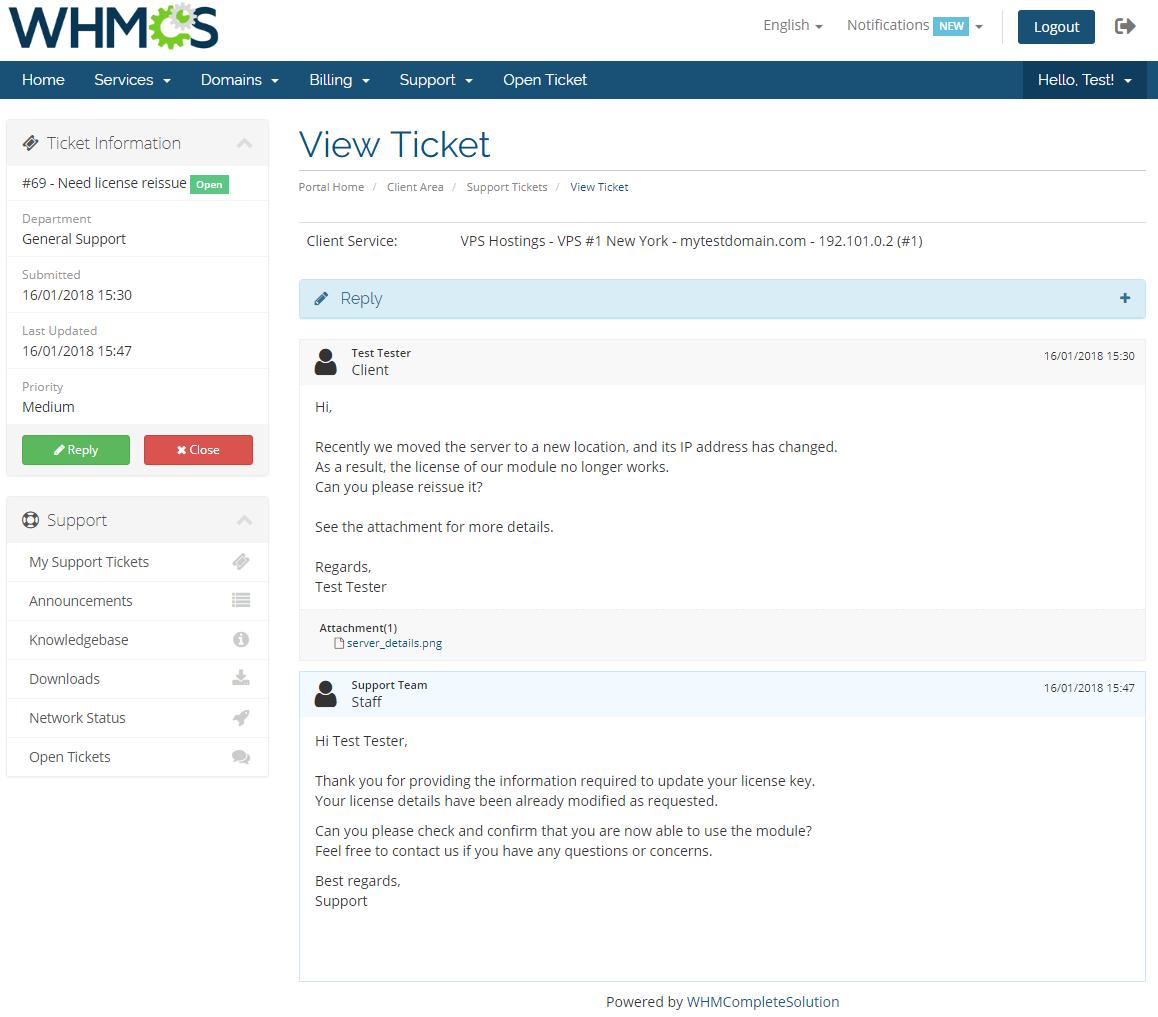 Freshdesk For WHMCS: Module Screenshot 4