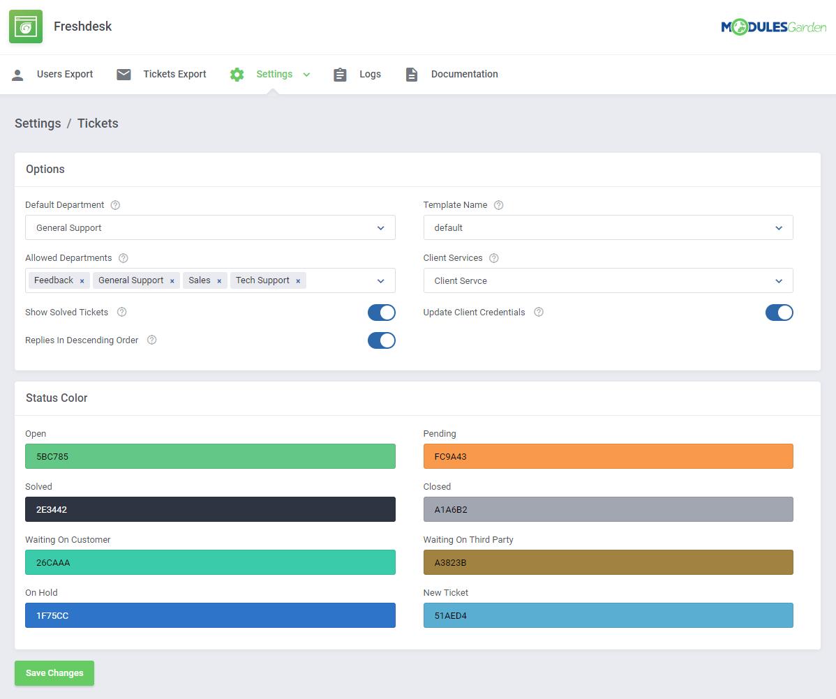 Freshdesk For WHMCS: Module Screenshot 8