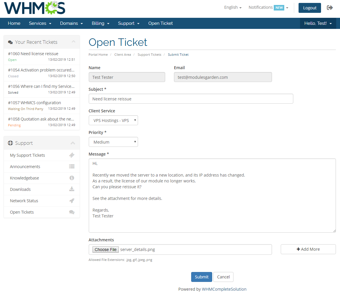 Freshdesk For WHMCS: Module Screenshot 1