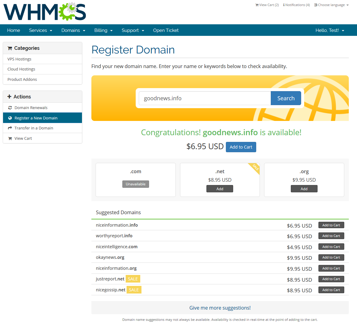 GoDaddy Domain Registrar For WHMCS: Screen 5