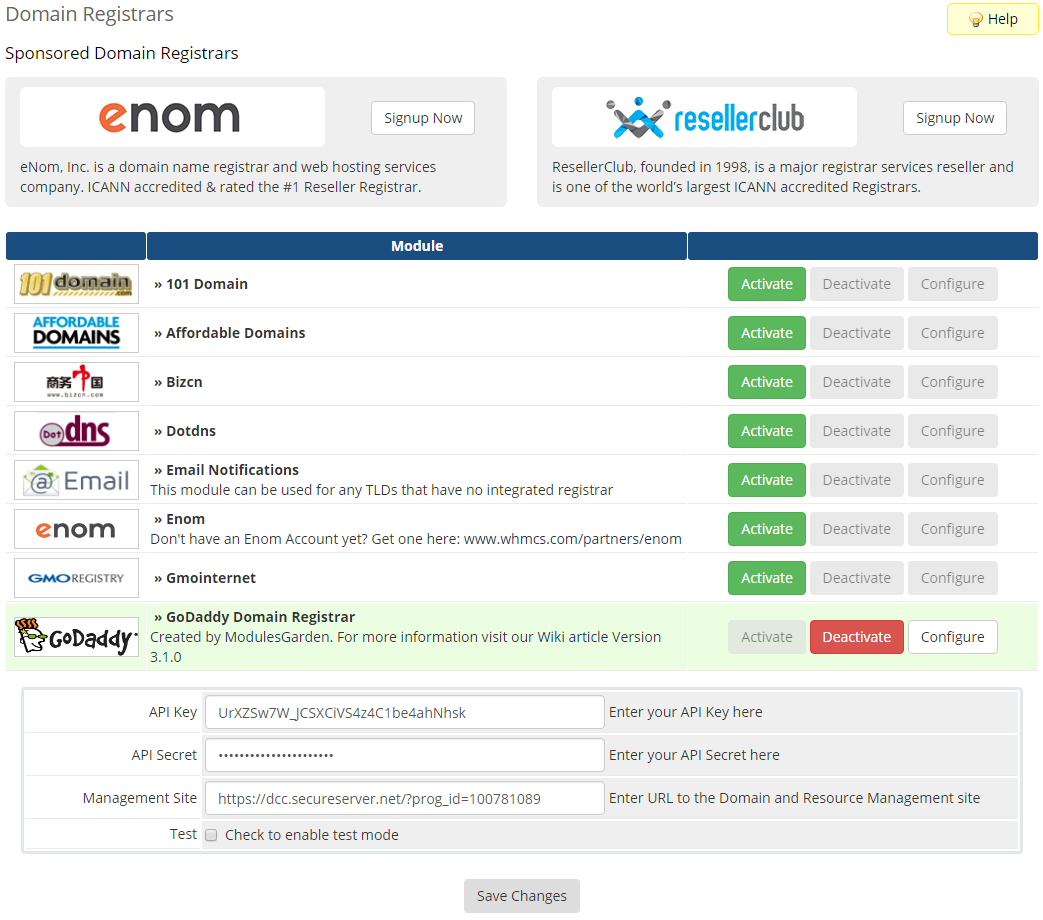 GoDaddy Domain Registrar For WHMCS: Screen 1