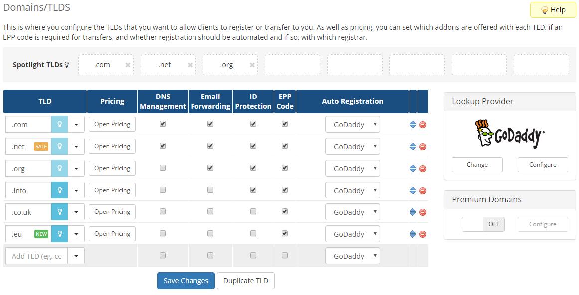 GoDaddy Domain Registrar For WHMCS: Screen 2