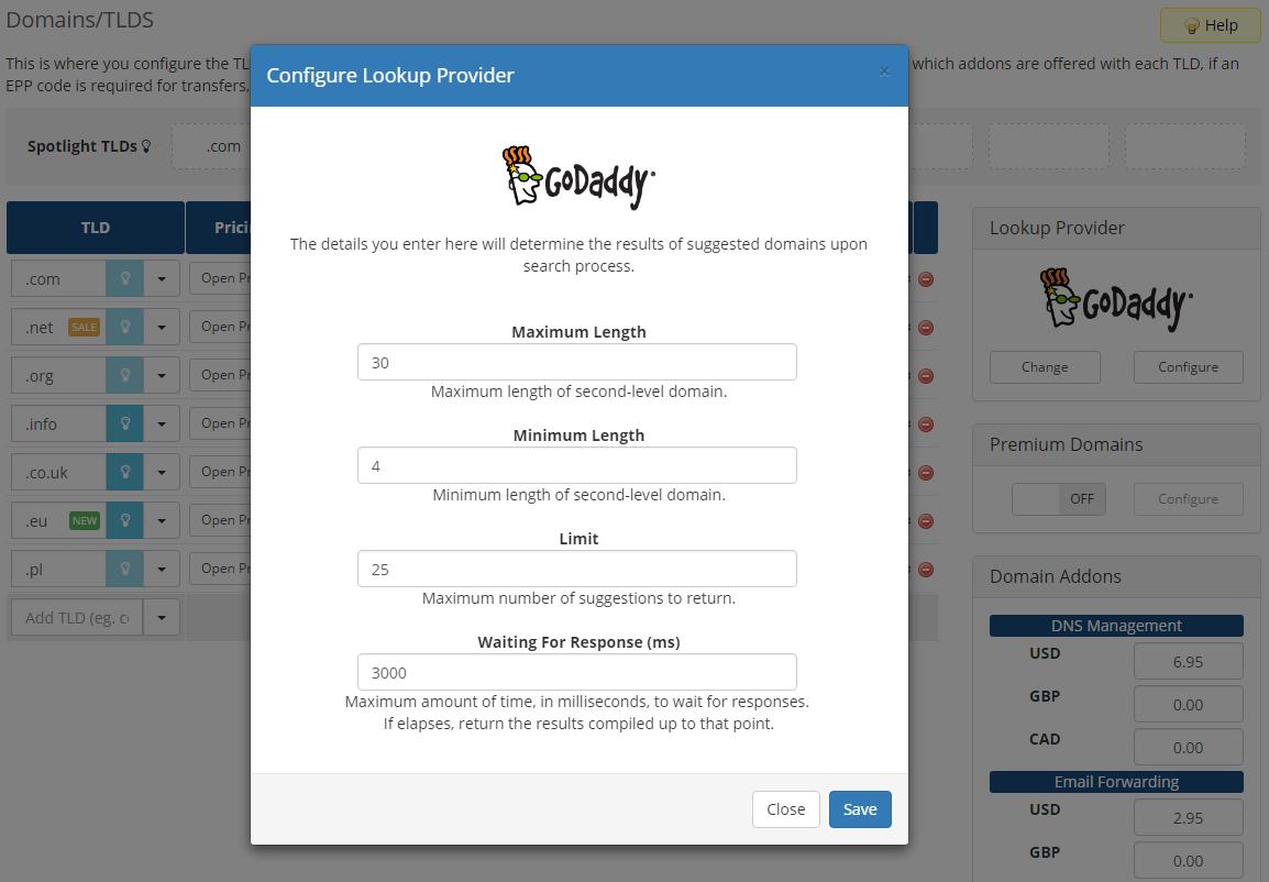 GoDaddy Domain Registrar For WHMCS: Screen 4