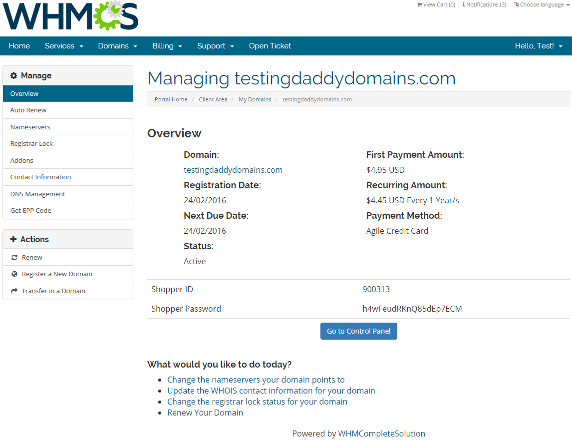 GoDaddy Domain Registrar For WHMCS: Screen 6