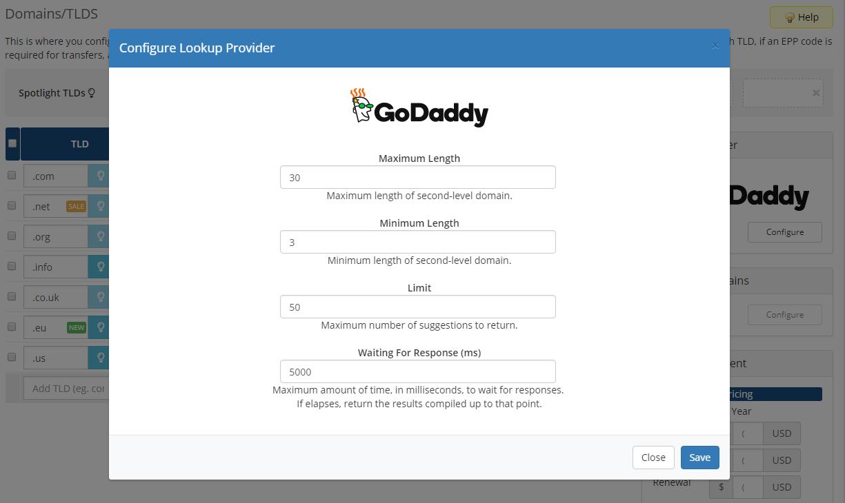 GoDaddy Domain Registrar For WHMCS: Screen 3