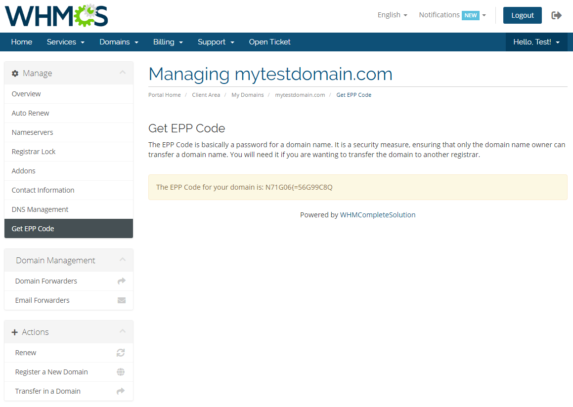 GoDaddy Domain Registrar For WHMCS: Screen 13