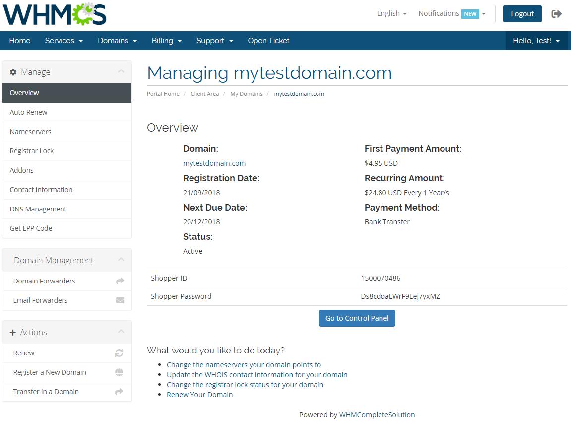 GoDaddy Domain Registrar For WHMCS: Screen 7