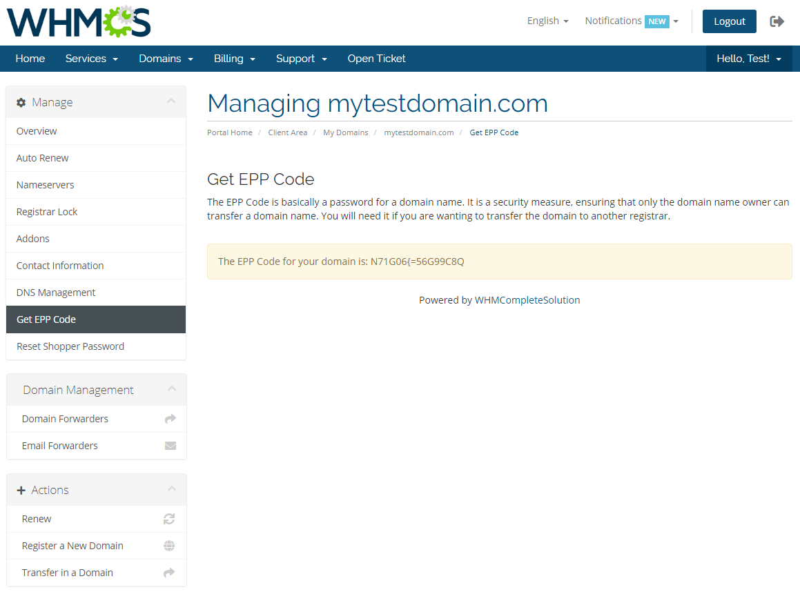 GoDaddy Domain Registrar For WHMCS: Module Screenshot 13