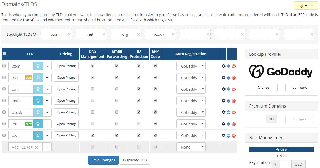 GoDaddy Domain Registrar For WHMCS: Module Screenshot 2