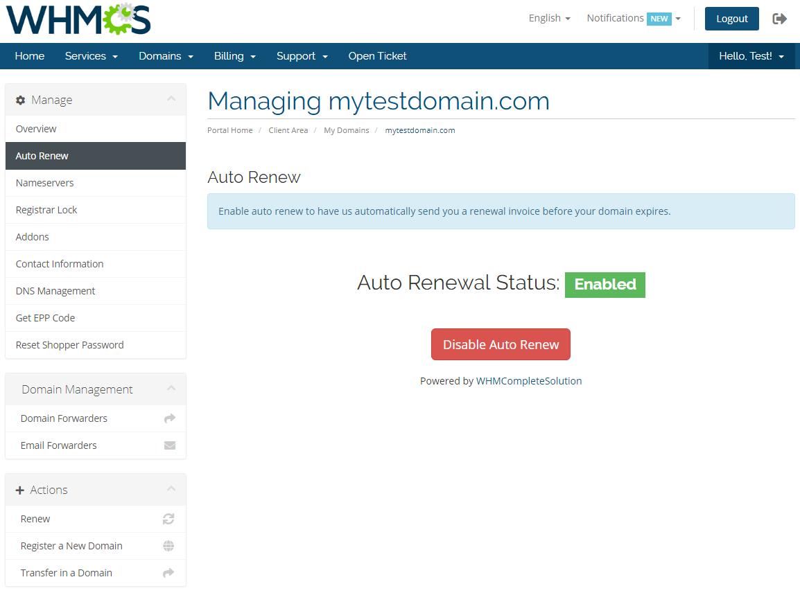 GoDaddy Domain Registrar For WHMCS: Module Screenshot 7