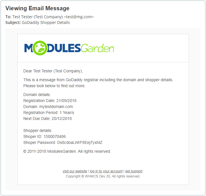 GoDaddy Domain Registrar For WHMCS: Module Screenshot 14