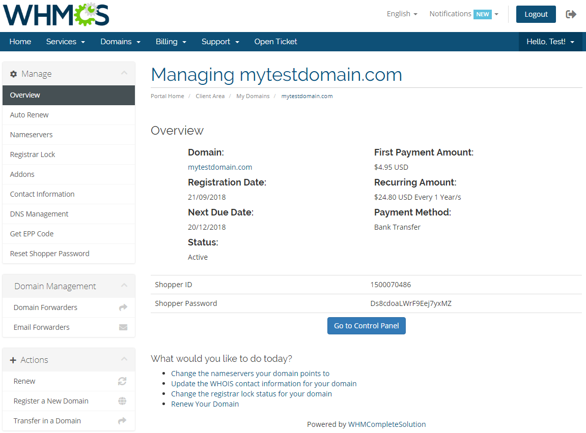 GoDaddy Domain Registrar For WHMCS: Module Screenshot 6