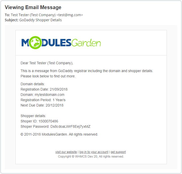 GoDaddy Domain Registrar For WHMCS: Module Screenshot 14