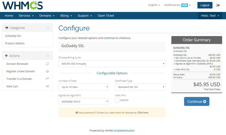 GoDaddy SSL For WHMCS: Screen 1