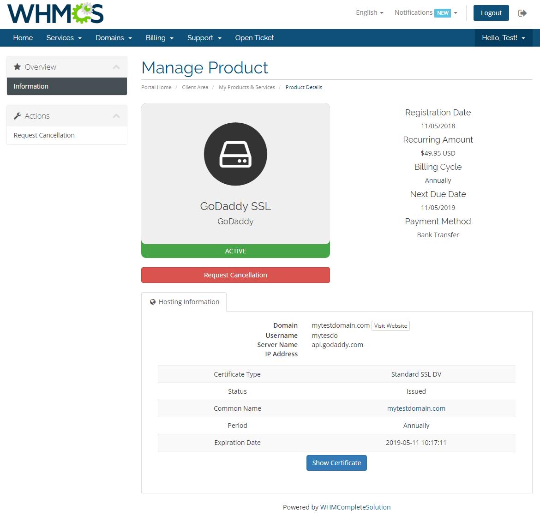 GoDaddy SSL For WHMCS: Screen 3