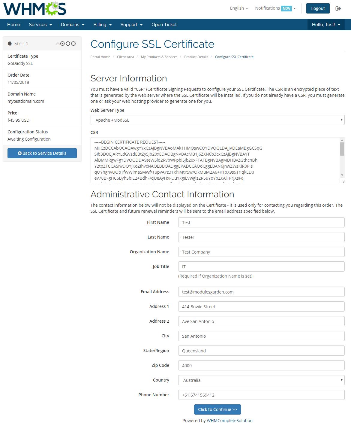 GoDaddy SSL For WHMCS: Screen 2