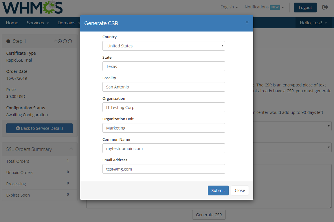 GoGetSSL For WHMCS: Module Screenshot 5