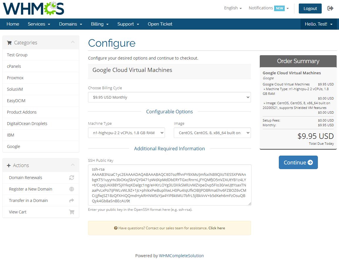 Google Cloud Virtual Machines For WHMCS: Module Screenshot 3