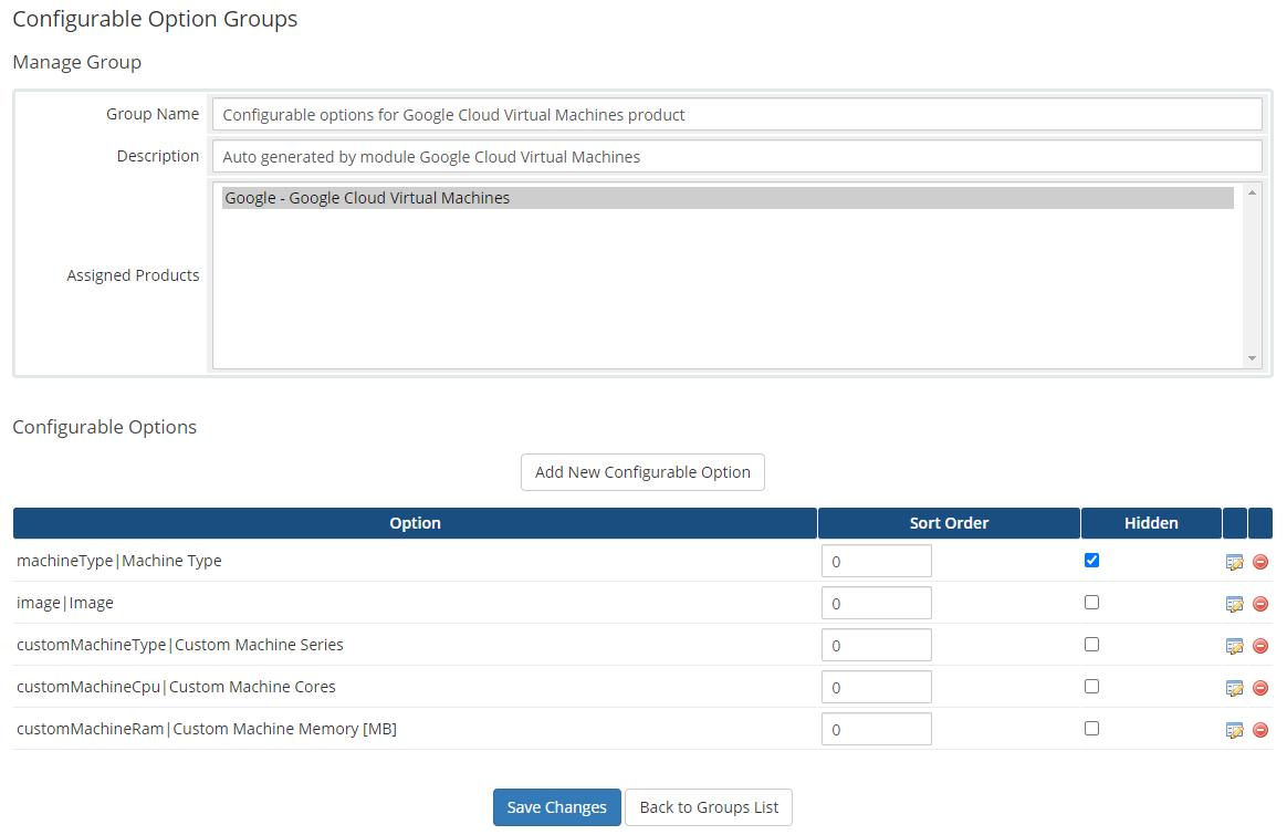 Google Cloud Virtual Machines For WHMCS: Module Screenshot 8