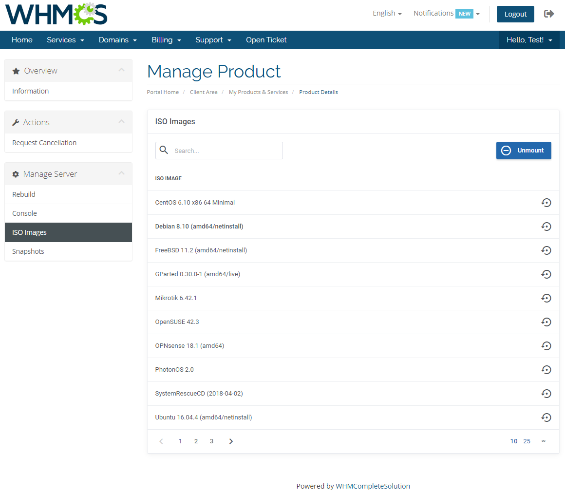 Hetzner VPS For WHMCS: Module Screenshot 4