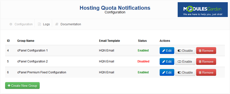 Hosting Quota Notifications For WHMCS: Screen 1