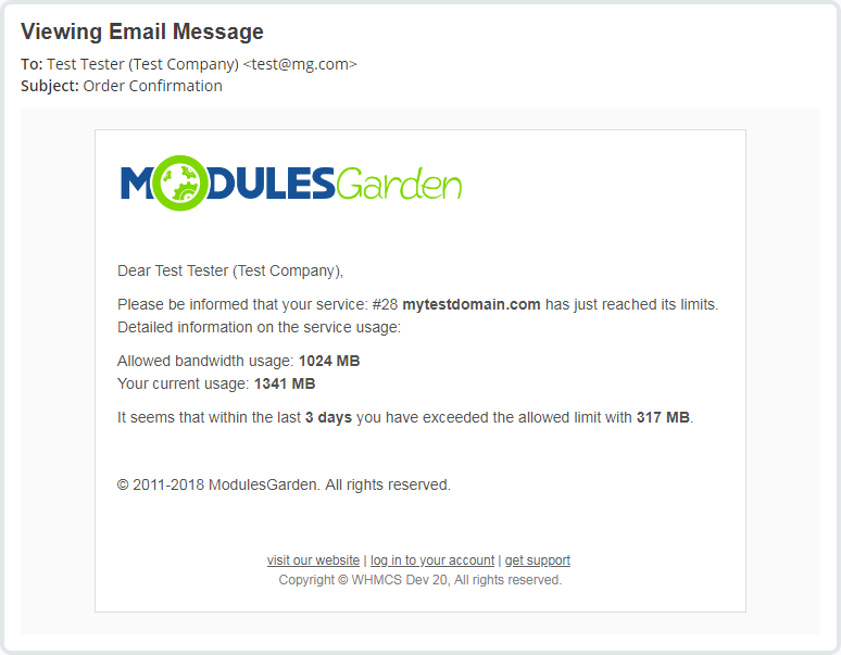 Hosting Quota Notifications For WHMCS: Screen 2