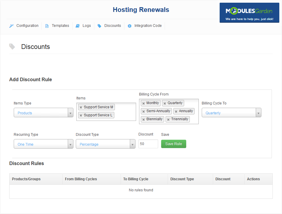 Hosting Renewals For WHMCS: Screen 3
