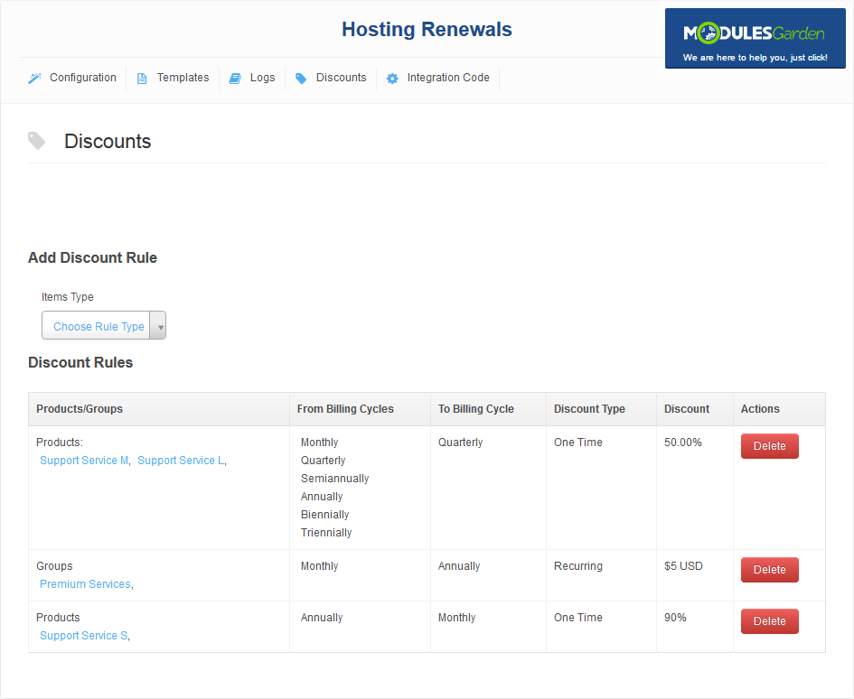 Hosting Renewals For WHMCS: Screen 4