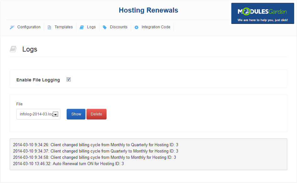 Hosting Renewals For WHMCS: Screen 6