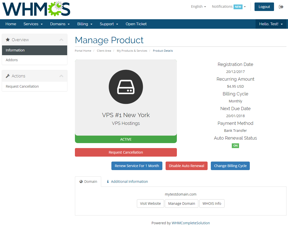Hosting Renewals For WHMCS: Screen 1
