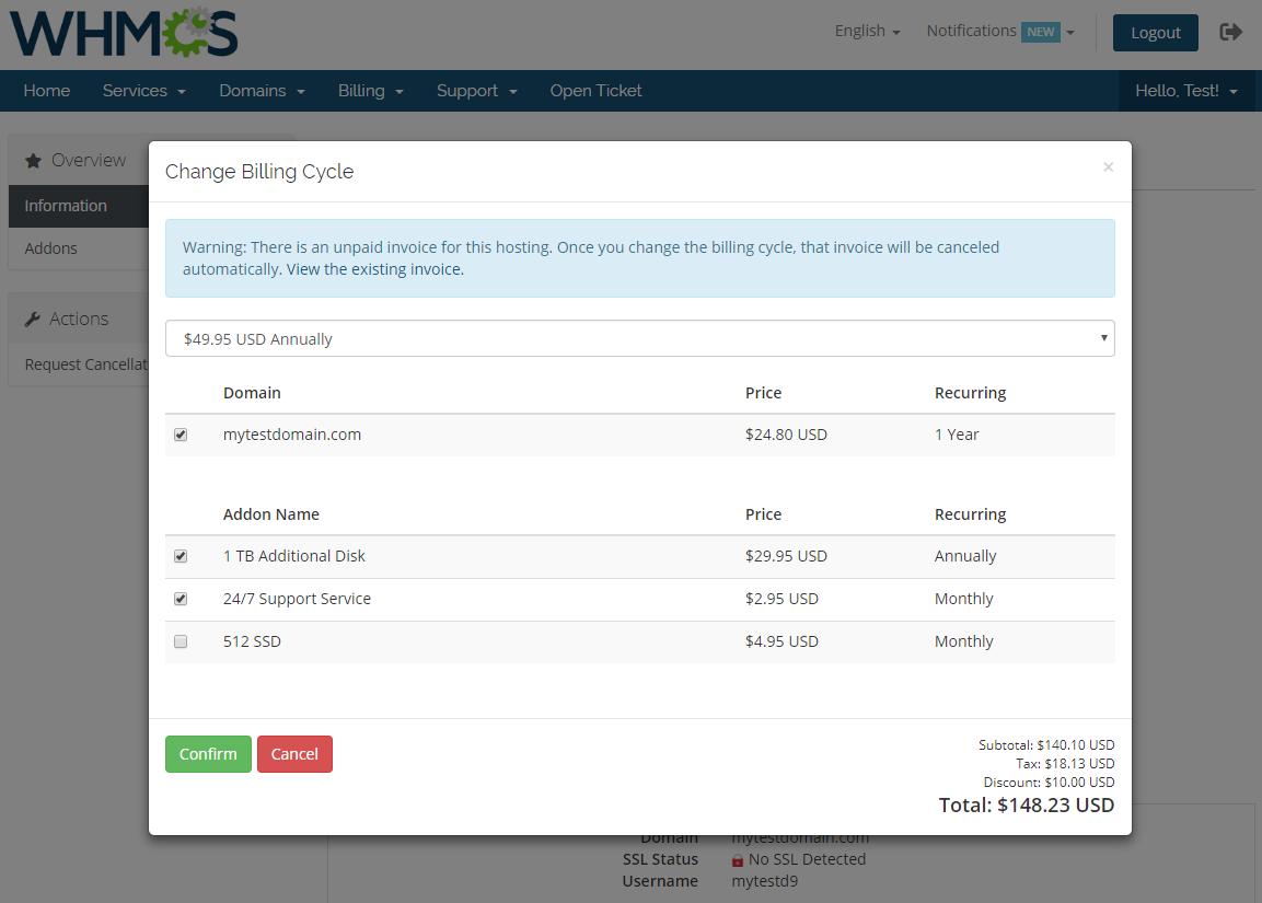Hosting Renewals For WHMCS: Module Screenshot 2