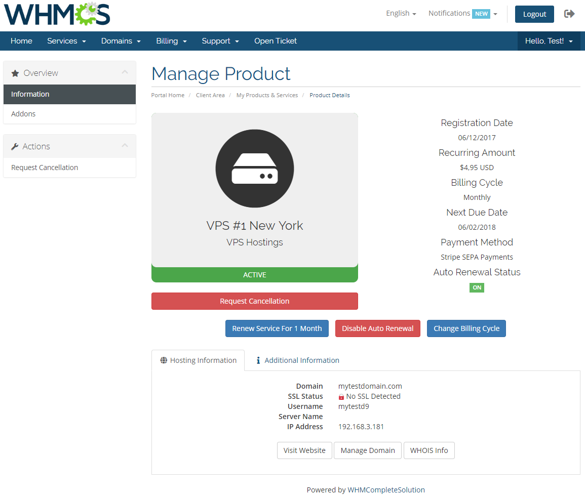 Hosting Renewals For WHMCS: Module Screenshot 1
