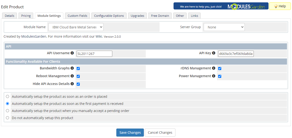IBM Cloud Bare Metal Servers For WHMCS: Module Screenshot 11