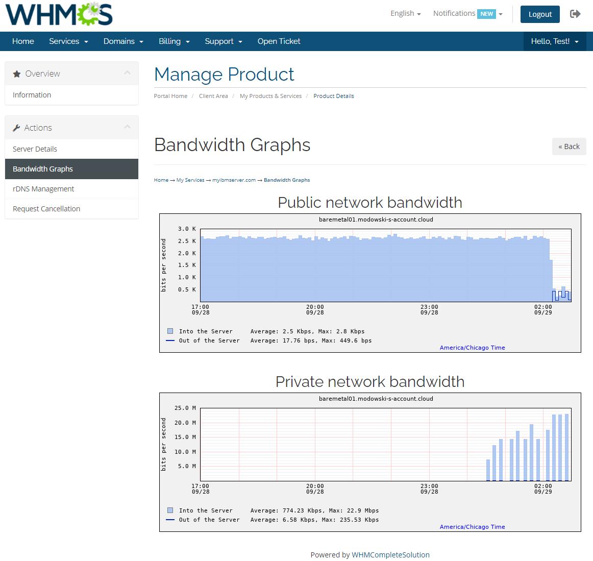 IBM Cloud Bare Metal Servers For WHMCS: Module Screenshot 4