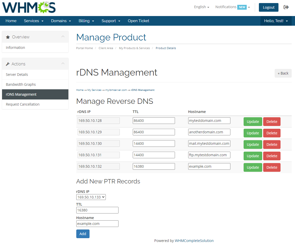 IBM Cloud Bare Metal Servers For WHMCS: Module Screenshot 5