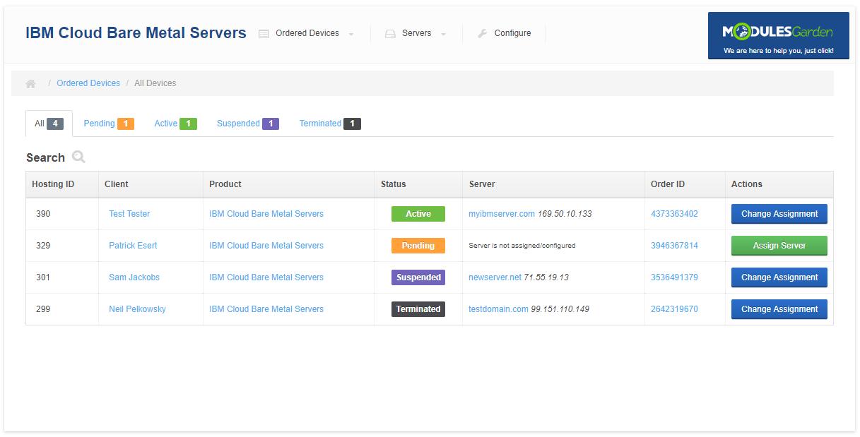 IBM Cloud Bare Metal Servers For WHMCS: Module Screenshot 7