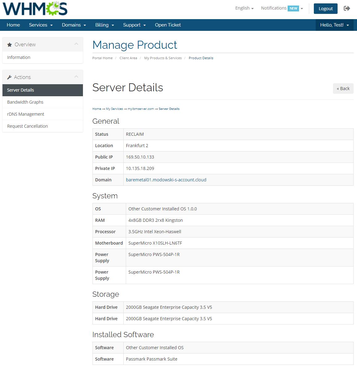 IBM Cloud Bare Metal Servers For WHMCS: Module Screenshot 2