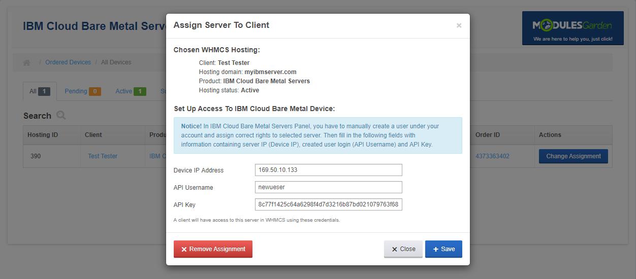 IBM Cloud Bare Metal Servers For WHMCS: Module Screenshot 8