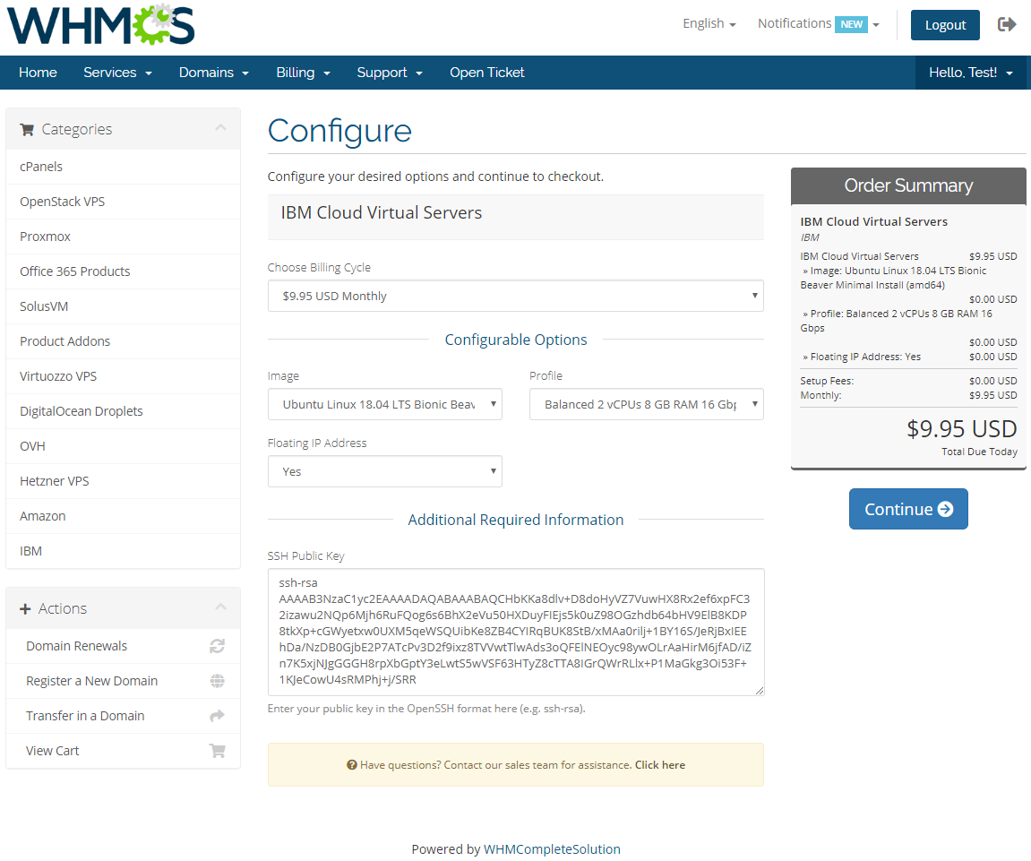 IBM Cloud Virtual Servers For WHMCS: Module Screenshot 2